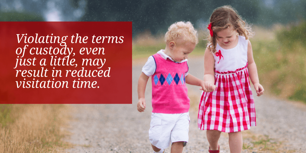 Violating the terms of custody, even just a little, may result in reduced visitation time